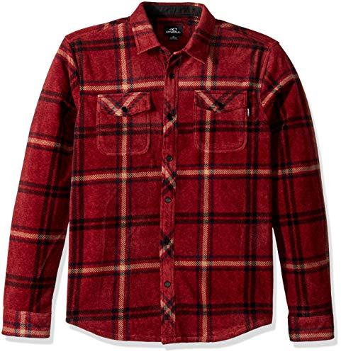 O'Neill Men's Flannel Long Sleeve Woven Casual Button Down Shirt, Red/Ridge, L