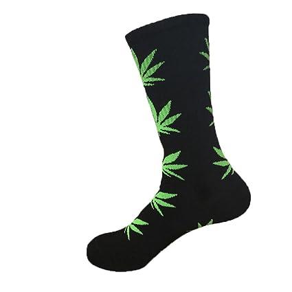 Leegoal (TM) 1par unisex Hip Hop calcetines hasta la rodilla de calcetines de algodón de alta Black&Green-1 Talla:talla única Tjv8IVEc2