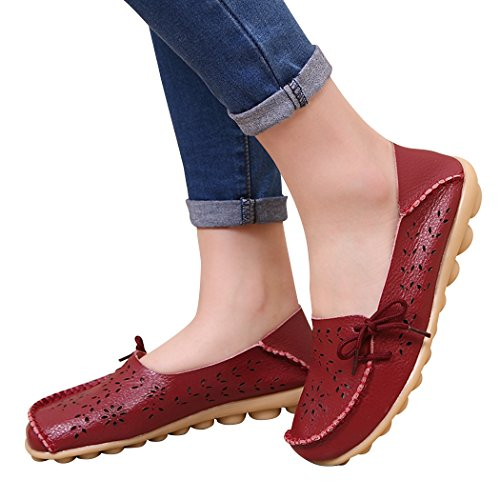 UJoowalk Hollow Women's Flat Shoes Burgundy Out Casual Loafer PHCxfwZq