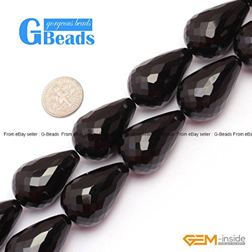 Agate Faceted Teardrop Beads (Natural Black Onyx Agate Faceted Teardrop Loose Beads For Jewelry Making 15