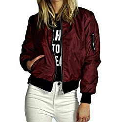 LisYOU Womens Classic Motorcycle Soft Zipper Jacket Short Bomber Jacket Coat(2XL,Wine)