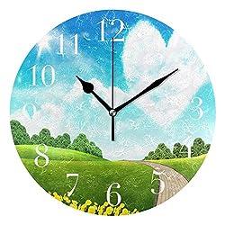 NMCEO Round Wall Clock Spring Netherlands Acrylic Original Clock for Home Decor Creative