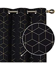 Deconovo Blackout Curtains Gold Diamond Foil Print, Thermal Insulated Room Darkening Sun Blocking Grommet Curtain Panels for Living Room, Black, 42W x 84L Inch, 2 Panels
