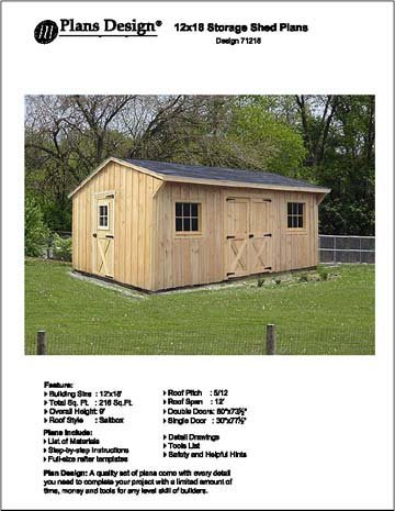 12' X 16' Saltbox Style Storage Shed Project Plans -Design #71216 by Plans Design