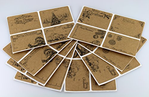 "8 Designs of Christmas To/From Sticker - Natural Brown Kraft Matte - 32 Imprinted 2"" x 3"" Labels per Pack, Permanent Adhesive"