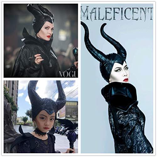SKJIND Maleficent Costume Horns Halloween Cosplay (Maleficent-black)
