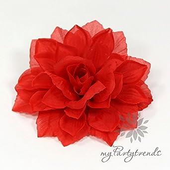 Mypartytrends Ansteckblume Haarblume Dahlie In Rot ø 13 Cm Höhe 4