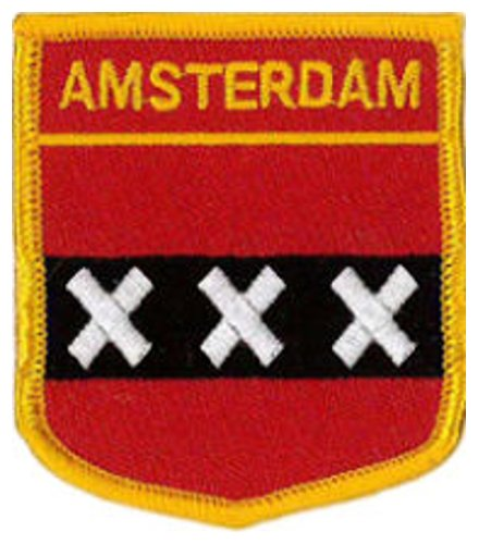 """Amsterdam (Shield) Embroidered Patch 6cm X 7cm (2 1/2"""" X 2 3/4"""")"""