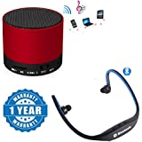 Drumstone Portable S10 Bluetooth Speaker Wireless Hands Free With TF, USB, and FM Support With BS19C Sports Bluetooth Headset Micro Sd Card Slot and FM Radio Functionality Compatible with Xiaomi, Lenovo, Apple, Samsung, Sony, Oppo, Gionee, Vivo Smartphones (1 Year Warranty)