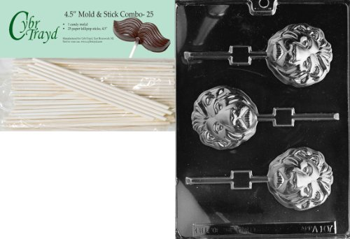 Lion Chocolate Mold (Cybrtrayd 45St25-A107 Lion Lolly Animal Chocolate Candy Mold with 25 4.5-Inch Lollipop Sticks)