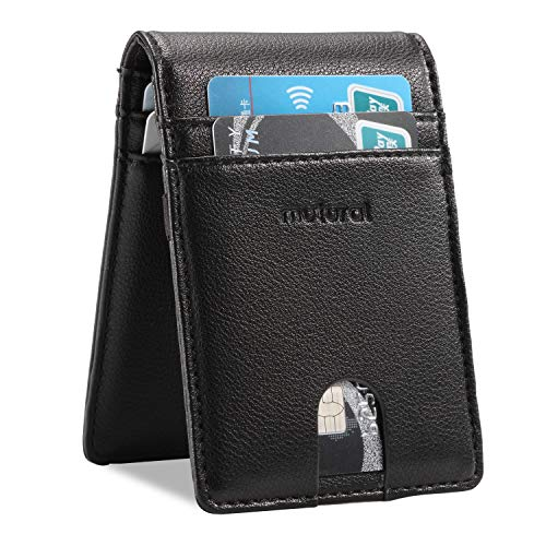 Mutural RFID Blocking Slim Wallet, 9 Slots Leather Minimalist Money Clip Wallet Bifold Card Cases Holder with ID Window