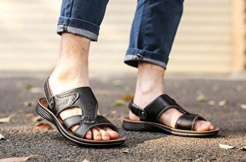 Verano Hombres y Sandalias de Antideslizantes Playa Negro de Nuevas de Verano Transpirables Cuero Ocasionales Zapatos para Zapatos de pnn7qE