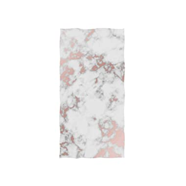 Naanle Rose Gold Texture Marble Print Soft Bath Towel Absorbent Hand Towels Multipurpose for Bathroom Hotel Gym and Spa 30 x15