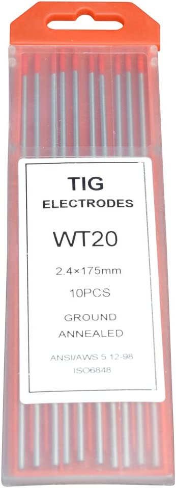 """10-Pack Rstar TIG Welding Tungsten Electrodes 2/% Thoriated 1//16/"""" x 7/"""" Red, WT20"""