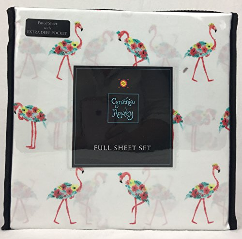 good Cynthia Rowley Easy Care Microfiber Sheet Set Tropical Floral Pink  Flamingos Multi Color on White 6aab82a35