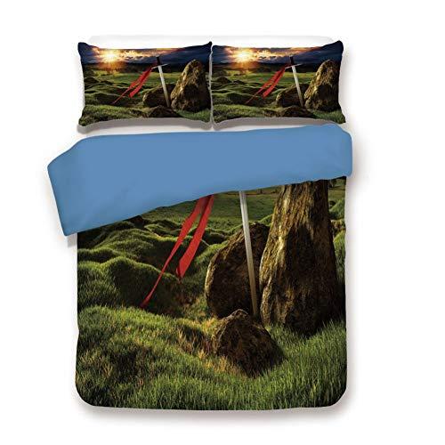 Duvet Cover Set Twin Size, Decorative 3 Piece Bedding Set with 2 Pillow Shams,Arthur Camelot Legend Myth in England Ireland Fields Invincible Sword Image