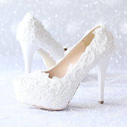 XIE Sscarpe da sposa femminili / Principessa e sposa / Decalcomanie fatte a mano / Stiletto Heel / Party & Evening dress / Sandali con tacco alto / Bianco scarpe da ballo RUNDESHEBEI