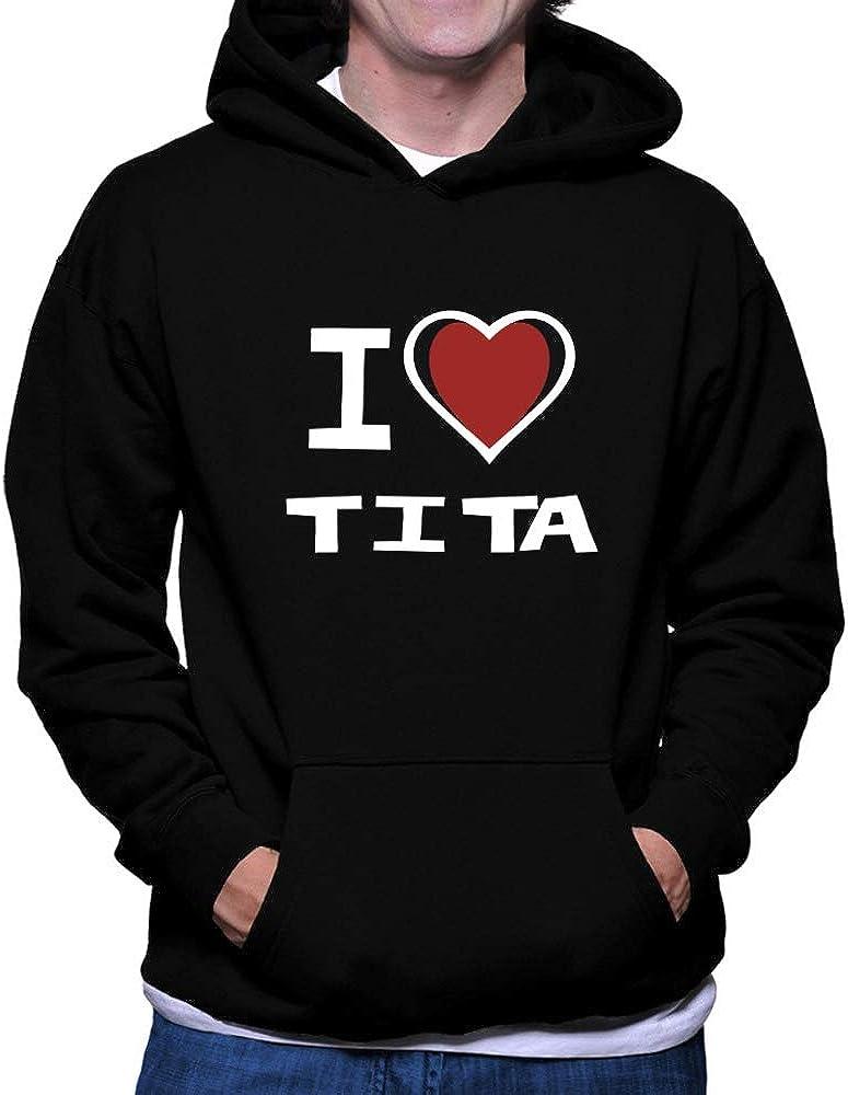 Teeburon I Love Tita Bicolor Heart Hoodie