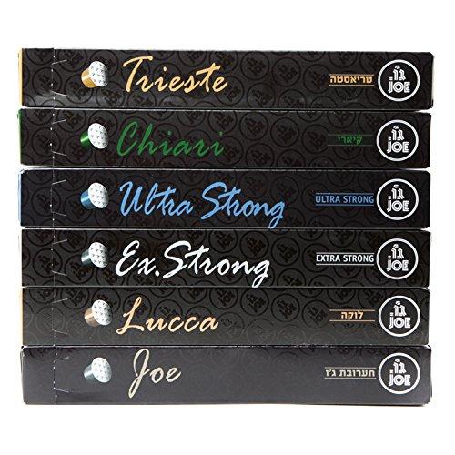 Cafe Joe USA Espresso Capsules, VARIETY SAMPLER, Nespresso Original Compatible Pods, 10-Count Sleeves, (60 Capsules) Espresso Pod Sampler