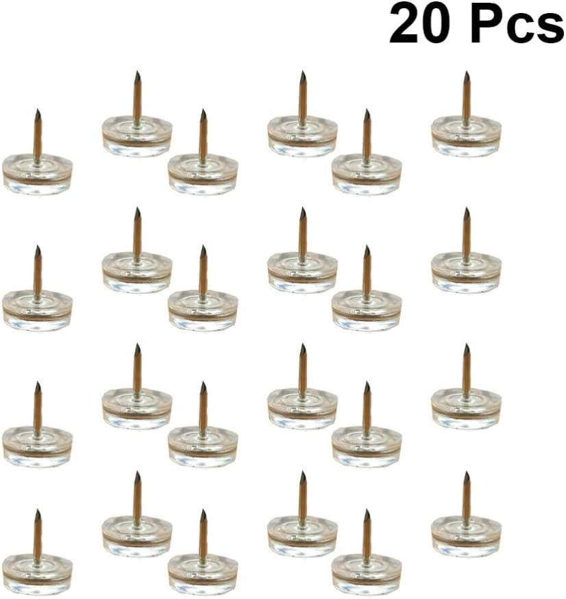 LIOOBO 20pcs muebles patas u/ñas pl/ástico antideslizante protector de piso transparente tachuelas para muebles alfileres de tapicer/ía para mesa de silla de sof/á