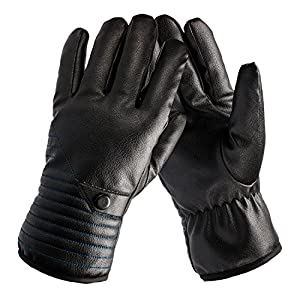 QXQY Men's Winter Warm Gloves Leather Touch Screen Texting Outdoor Sports Windproof Waterproof Gloves