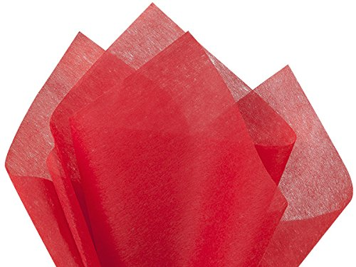 Pack Of 100, Solid Red Non-Woven Fiber Tissue Sheets 20