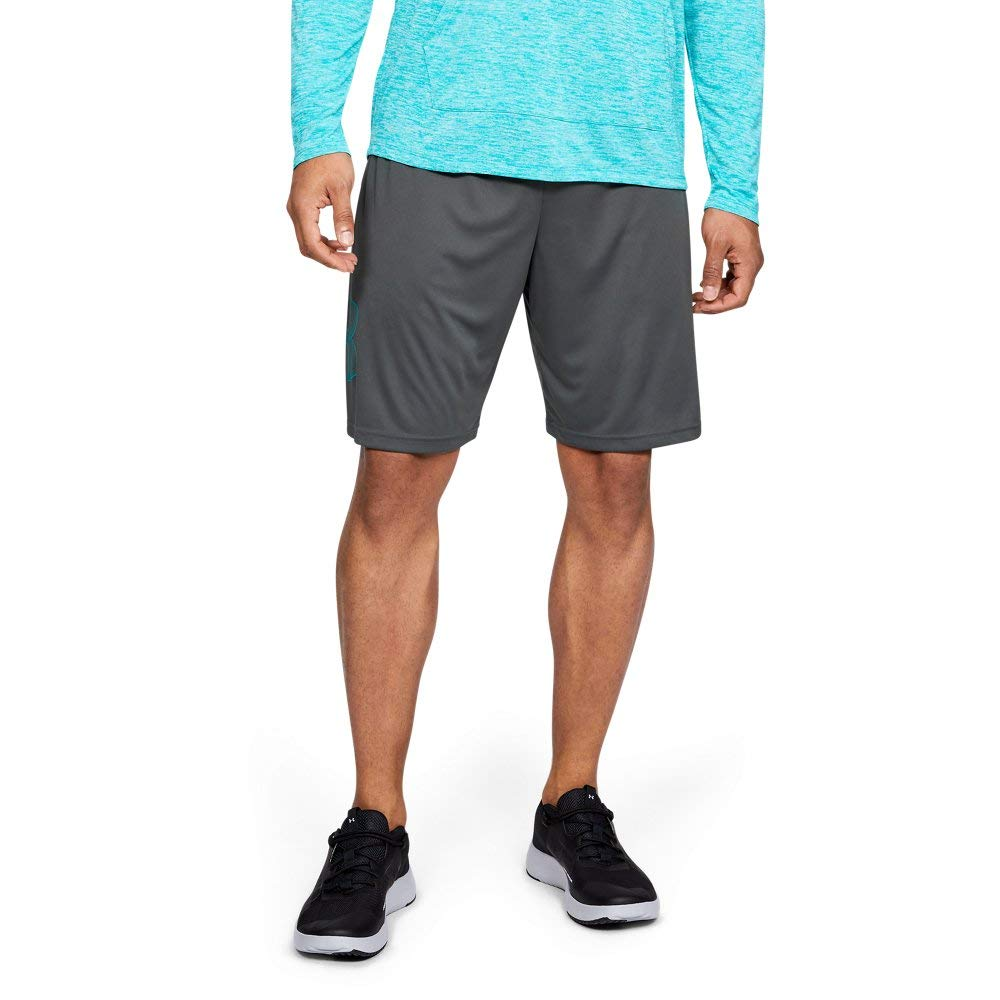 Under Armour Mens Tech Graphic Shorts, Pitch Gray (012)/Teal Rush, Small