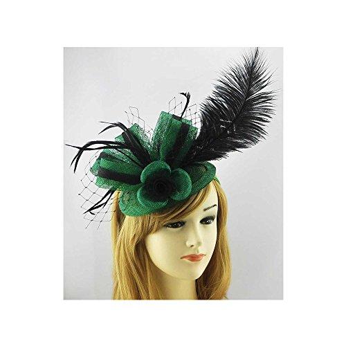 LeahWard®sac de femme Styliste modéliste Fascinator Hat Clip Feather Flower qualité Accessories Wedding Horse Racing Fête CWH00182 CWH00207 (CWH00182-Vert/Noir avec Headband)