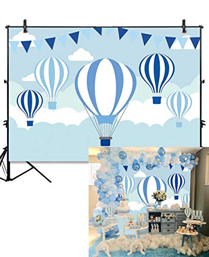 Allenjoy 7x5ft World Travel Blue Hot Air Balloons Backdrop for Baby Shower Kids Birthday Party Wall Table Decoration Banner Cartoon Sky White Clouds Flags Photography Background Photo Booth Props Blue Hot Air Balloon