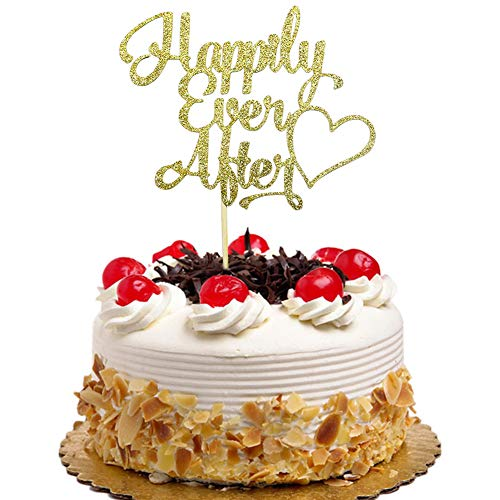 Happily Ever After Cake Topper for Wedding, Engagement, Bridal Shower Party Decorations Gold Glitter (Best Wedding Cake Toppers Ever)