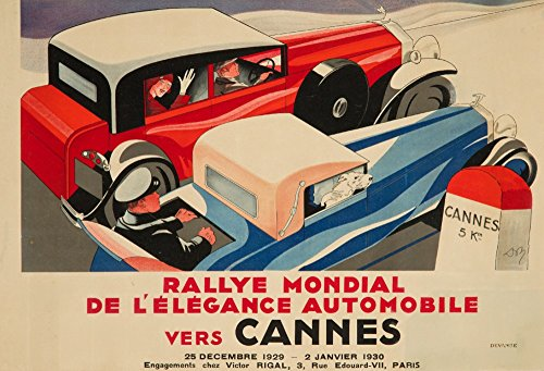 Rallye Mondial - Cannes Vintage Poster (artist: Don) France c. 1929 (16x24 SIGNED Print Master Giclee Print w/Certificate of Authenticity - Wall Decor Travel Poster)
