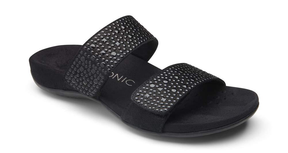 Vionic Women's Rest Samoa Slide Sandal - Ladies Adjustable Walking Sandals with Concealed Orthotic Arch Support Black 8 Medium US by Vionic