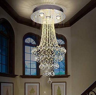 GDLight Moderna lámpara de Techo de la lámpara de Techo de Escalera de Gota de iluminación LED de Montaje Empotrado de Techo de Cristal para el Comedor Dormitorio Dormitorio escaleras Villa: Amazon.es: