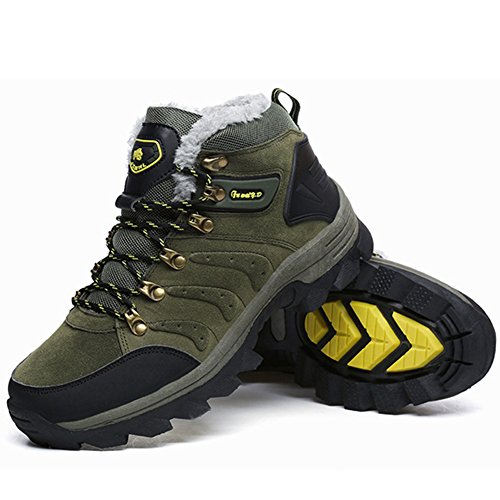 Winter and Waterproof Leather Backpacking Army Hiker Shoe BERTERI Boot Hiking Outdoor Men's Women's Green q65wxnX4