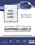 "Full Sheet shipping Label - by Jayzi® - 8.5"" x 11"" (Same size as Avery® 5165) (100 Sheets)"