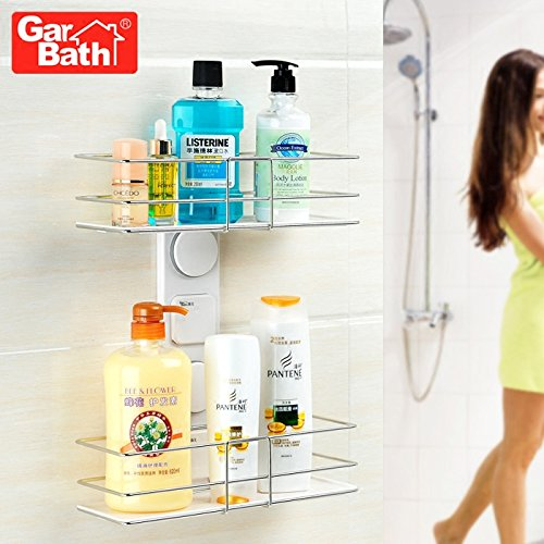 Strong Sucker Bathroom Shelf Bathroom Wall-Mounted Double Stainless Steel Storage Racks Child A Bath Towel Rack