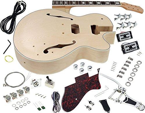 Solo GF Style DIY Guitar Kit, Maple Hollow Body Rosewood FB, Vintage Tremolo, GFK-10