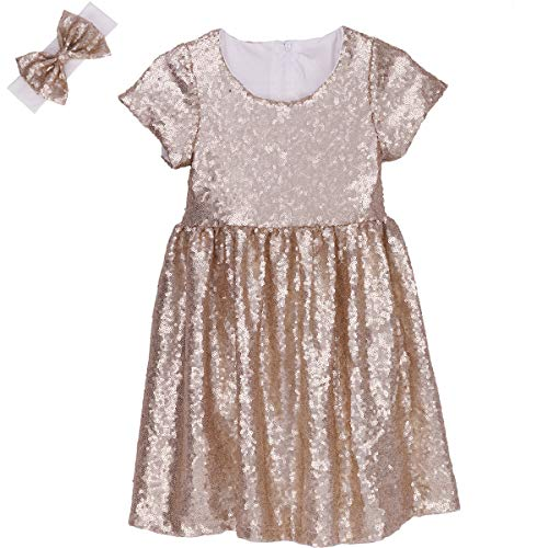 Sparkly Dresses For Kids (Cilucu Flower Girl Dress Baby Toddlers Sequin Dress Kids Party Dress Bridesmaid Wedding Gown Birthday Dress Champagne)