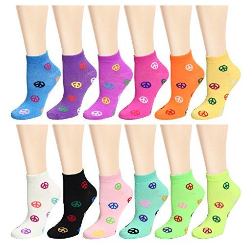 (12 Pairs Women's Socks Assorted Colors Size 9-11 (Multi-Color Peace)