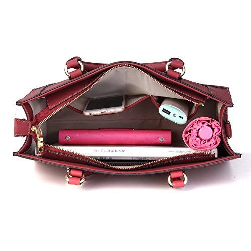 PU Top Handle Leather Satchel Tote Large Shoulder Kadell Women Messenger Wine Bags Fashion Red Handbags qw8zIHR