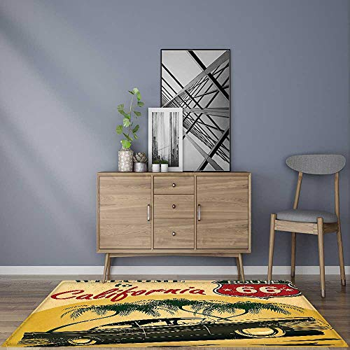 Water-Repellent Rugs Retro Welcome to California Advertising Seat of Hollywood in Pop Art Style Neo Anti Bacterial,Latex