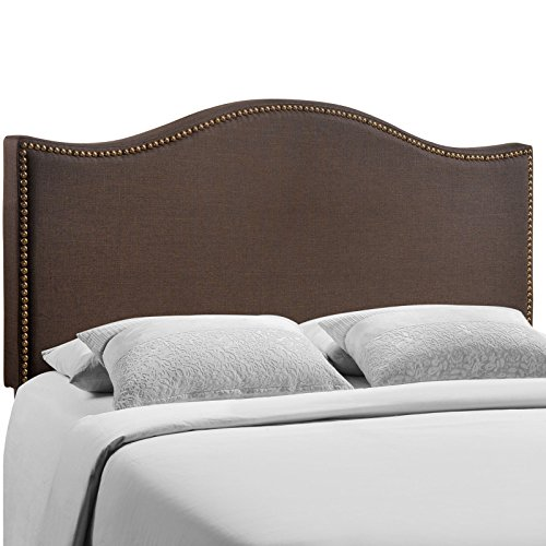 - Modway Curl Linen Fabric Upholstered Queen Headboard with Nailhead Trim and Curved Shape in Dark Brown