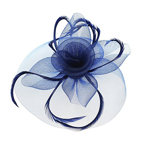 Kentucky Derby Fascinator Hair Clip Hat Feather Prom Cocktail Party Headwear (B Navy Blue)