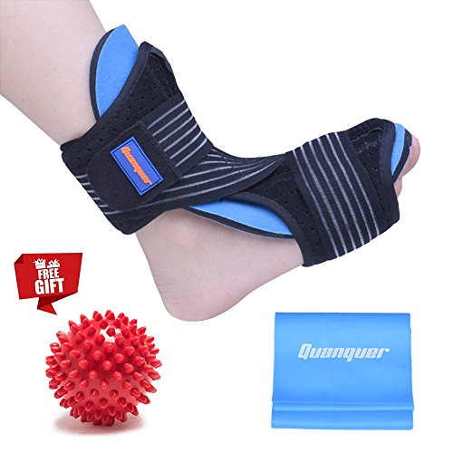 (Plantar Fasciitis Night Splint Foot Drop Orthotic Brace for Sleep Support- Adjustable Dorsal Night Splint for Effective Relief from Plantar Fasciitis Pain (RED))