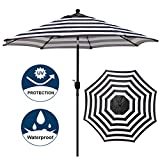 Best Patio Umbrellas - Blissun 9' Outdoor Aluminum Patio Umbrella, Market Striped Review