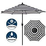 Blissun 9' Outdoor Aluminum Patio Umbrella, Market Striped Umbrella with Push Button Tilt