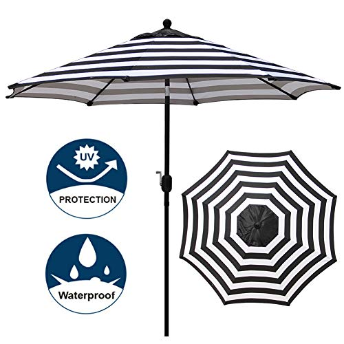 Blissun 9' Outdoor Aluminum Patio Umbrella, Market Striped Umbrella with Push Button Tilt and Crank (Black&White Stripe)