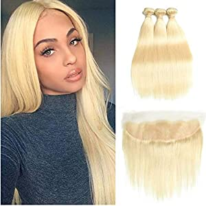 Fabeauty 613 Blonde Human Hair Bundles with Frontal Brazilian Straight with Frontal 100% Virgin Human Hair Weave with…