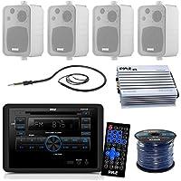 Pyle PLRVST300 RV Wall Mount Bluetooth CD/DVD Receiver Bundle Combo With 4x Enrock 4 200-Watt Waterproof Stereo Box Speaker + Radio Antenna + 400 Watt Amplifier + 16G 50-FT Wire