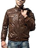 FLAVOR Men Biker Retro Brown Leather Motorcycle